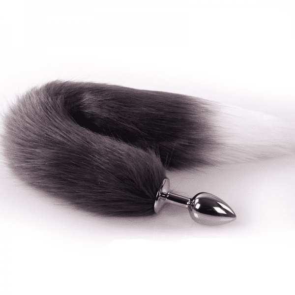 Brown and white cat tail plug