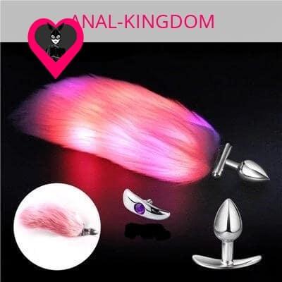 Backlit pink tail anal plug glow