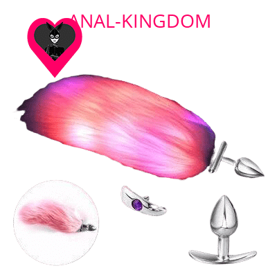 Backlit pink tail anal plug