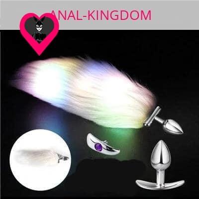 Backlit white tail anal plug glow