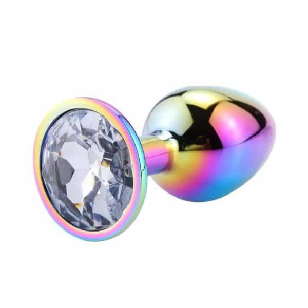 Crystal diamond rainbow anal plug