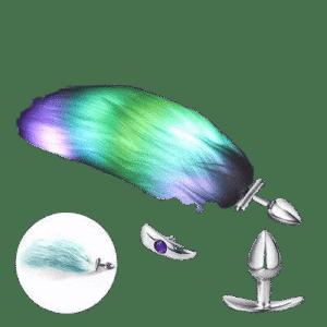 Green backlit anal plug green tail