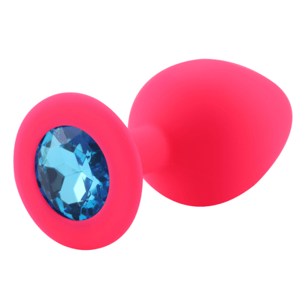 Pink diamond blue silicone anal plug
