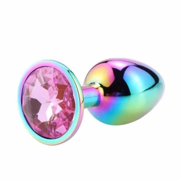 Pink diamond rainbow anal plug