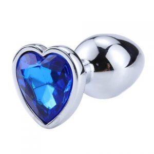 Plug anal diamond metal heart dark blue