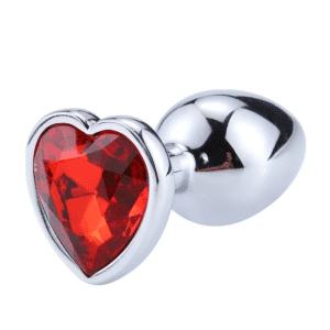 Plug anal diamond metal heart red