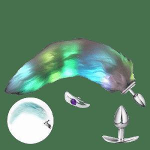 Plug anal long tail green backlit