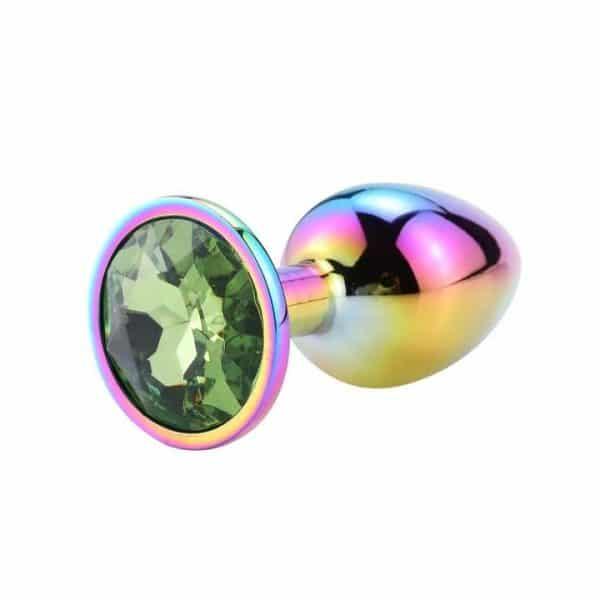 Rainbow anal plug green diamond
