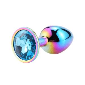 Rainbow blue diamond anal plug