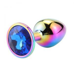 Rainbow diamond anal plug dark blue diamond