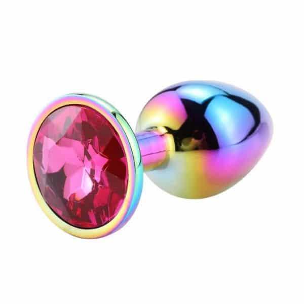 Rainbow diamond wine anal plug