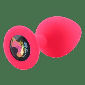 Rainbow pink diamond silicone anal plug