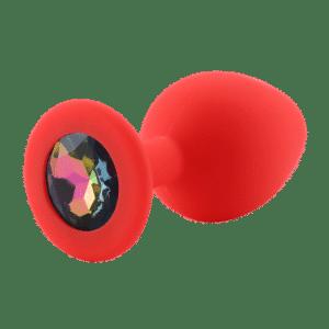 Rainbow red diamond silicone anal plug