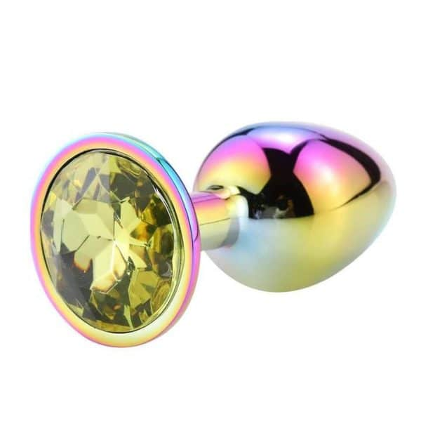 Rainbow yellow diamond anal plug