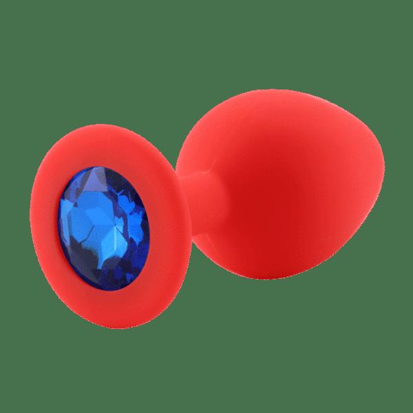 Red diamond blue silicone anal plug
