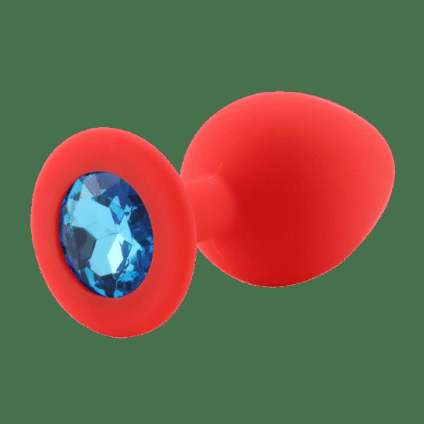 Red diamond sky blue silicone anal plug