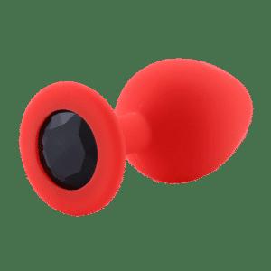Red silicone anal plug black diamond
