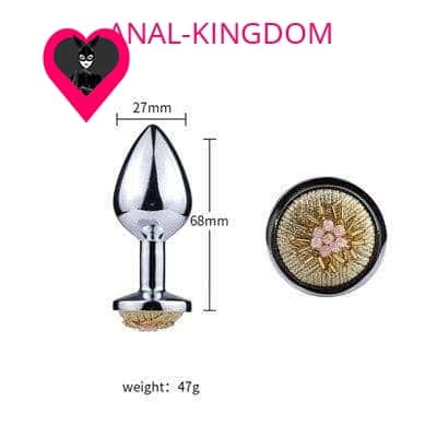 Size Anal plug with metal flower beads