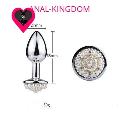 Size Anal plug with white metal beads