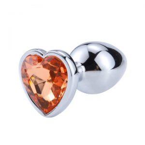Diamond anal plug metal heart orange