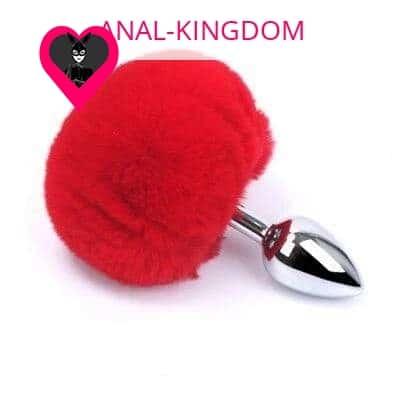 Thrilling red rabbit tail plug