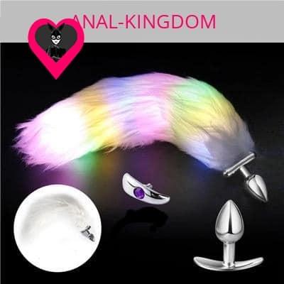 White long tail anal plug backlit glow
