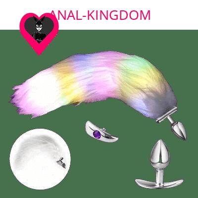 White long tail anal plug backlit