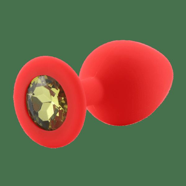 Yellow diamond red silicone anal plug